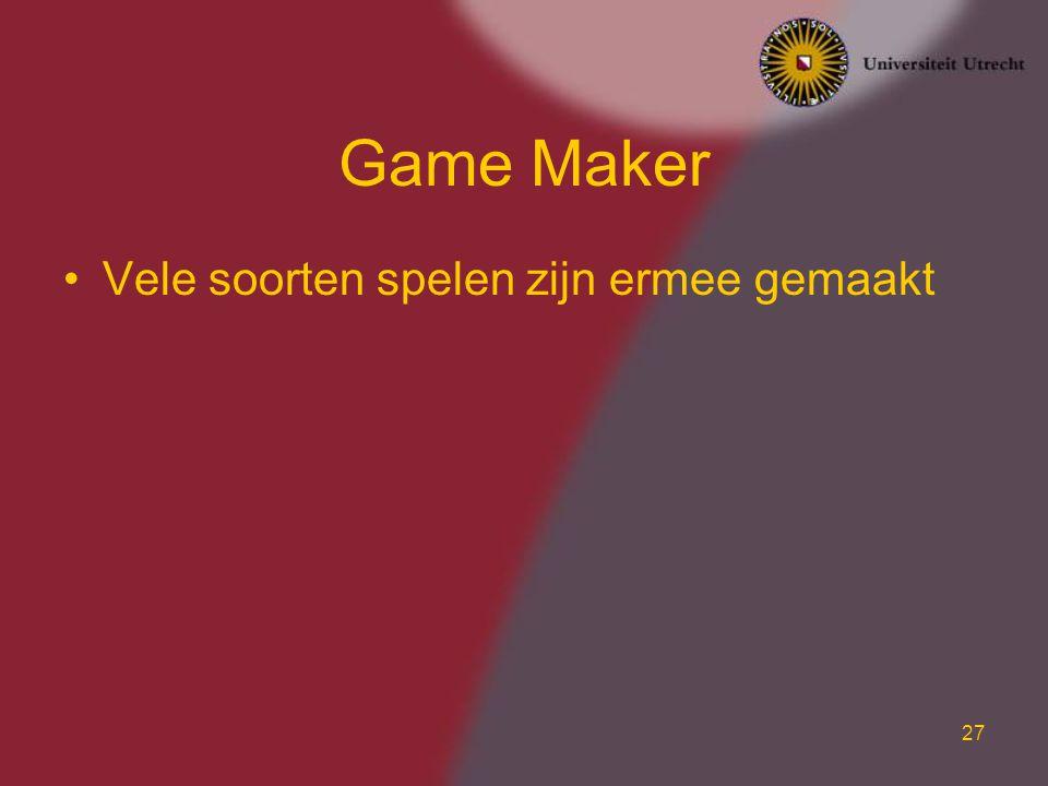 27 Game Maker Vele soorten spelen zijn ermee gemaakt