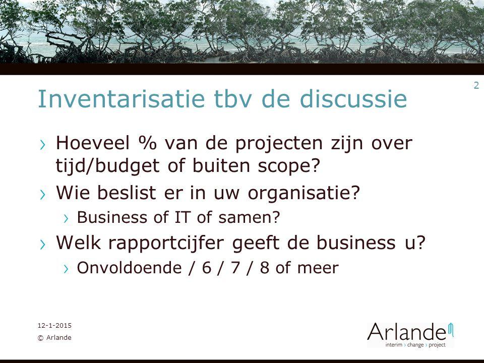 3 12-1-2015 © Arlande Je zou kunnen stellen… IT Governance bestaat bij de onkunde van de IT manager; Business & IT alignment is monsterlijk IT is de enabler voor de business: klets.