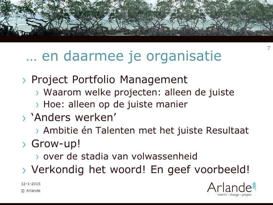 7 12-1-2015 © Arlande … en daarmee je organisatie Project Portfolio Management Waarom welke projecten: alleen de juiste Hoe: alleen op de juiste manier 'Anders werken' Ambitie én Talenten met het juiste Resultaat Grow-up.