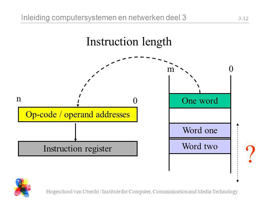 Inleiding computersystemen en netwerken deel 3 Hogeschool van Utrecht / Institute for Computer, Communication and Media Technology 3.12 Instruction length One word Word one Word two 0m Op-code / operand addresses 0 n .
