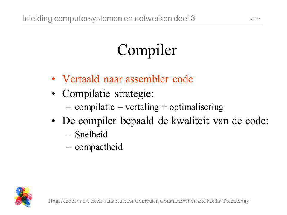 Inleiding computersystemen en netwerken deel 3 Hogeschool van Utrecht / Institute for Computer, Communication and Media Technology 3.17 Compiler Verta