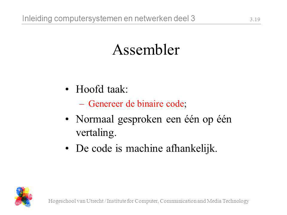 Inleiding computersystemen en netwerken deel 3 Hogeschool van Utrecht / Institute for Computer, Communication and Media Technology 3.19 Assembler Hoof