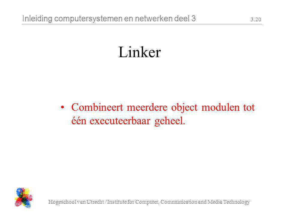 Inleiding computersystemen en netwerken deel 3 Hogeschool van Utrecht / Institute for Computer, Communication and Media Technology 3.20 Linker Combine
