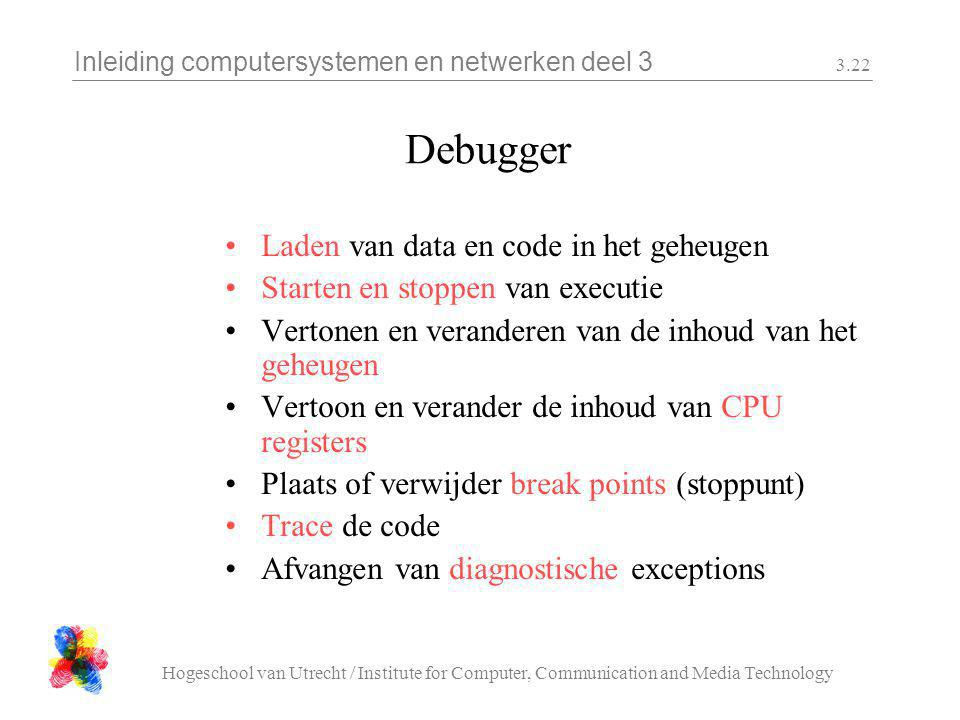 Inleiding computersystemen en netwerken deel 3 Hogeschool van Utrecht / Institute for Computer, Communication and Media Technology 3.22 Debugger Laden van data en code in het geheugen Starten en stoppen van executie Vertonen en veranderen van de inhoud van het geheugen Vertoon en verander de inhoud van CPU registers Plaats of verwijder break points (stoppunt) Trace de code Afvangen van diagnostische exceptions
