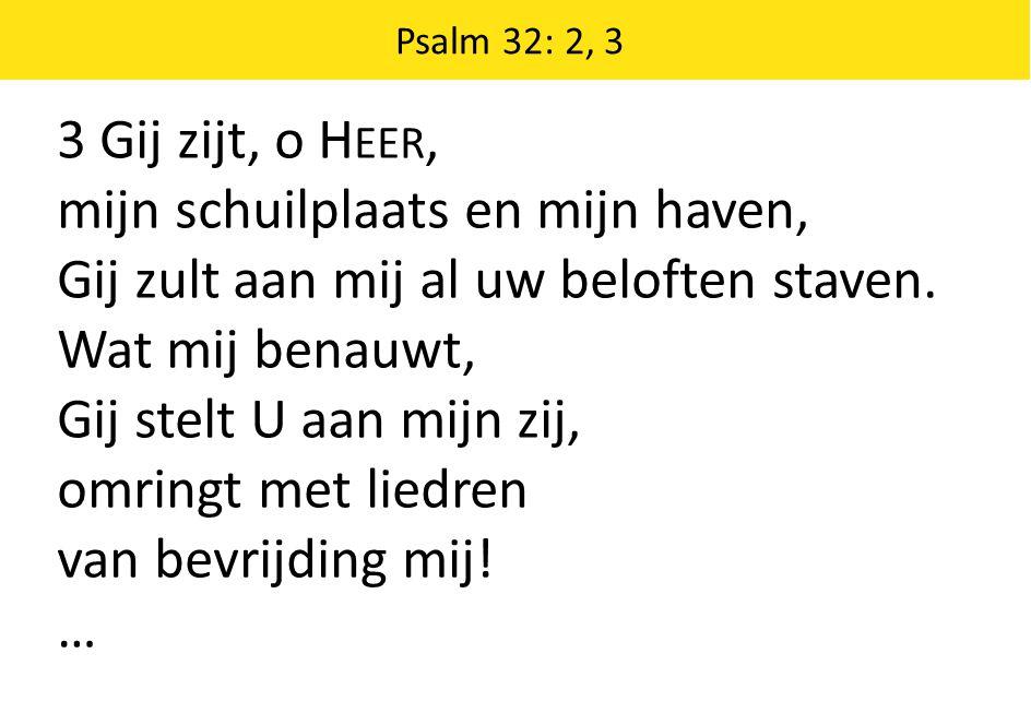 3 Gij zijt, o H EER, mijn schuilplaats en mijn haven, Gij zult aan mij al uw beloften staven. Wat mij benauwt, Gij stelt U aan mijn zij, omringt met l
