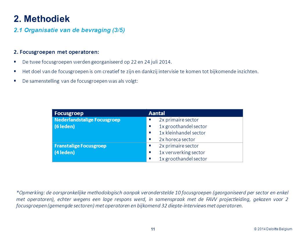 © 2012 Deloitte Belgium © 2014 Deloitte Belgium 2. Methodiek 2.1 Organisatie van de bevraging (3/5) 11 2. Focusgroepen met operatoren:  De twee focus