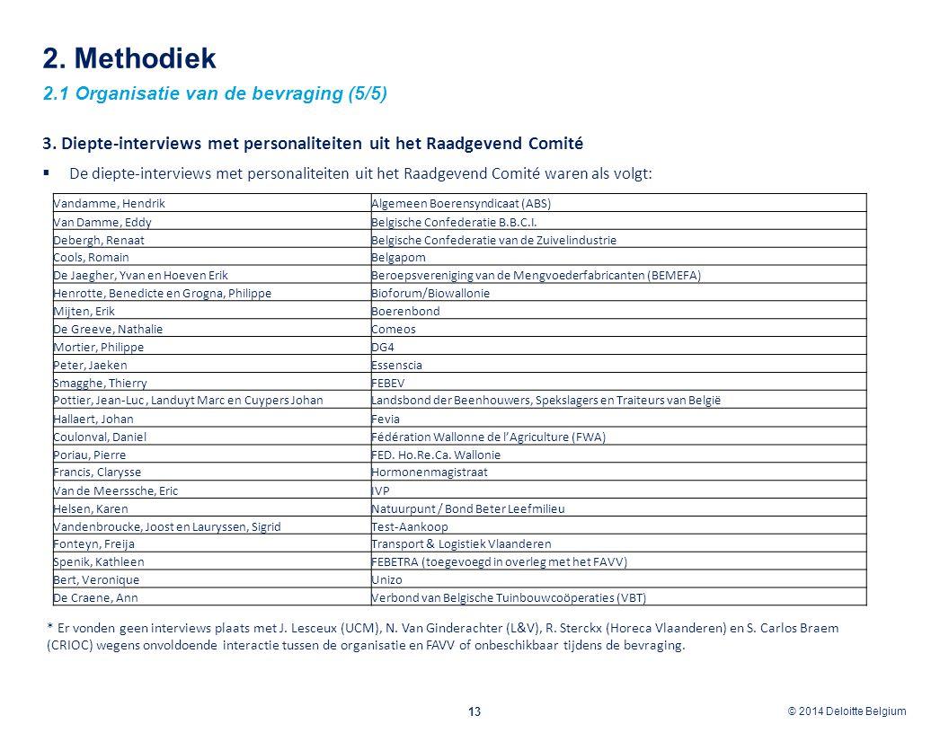 © 2012 Deloitte Belgium © 2014 Deloitte Belgium 2. Methodiek 2.1 Organisatie van de bevraging (5/5) 13 3. Diepte-interviews met personaliteiten uit he