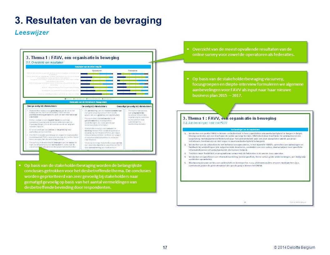 © 2012 Deloitte Belgium © 2014 Deloitte Belgium 3. Resultaten van de bevraging 17 Leeswijzer  Op basis van de stakeholderbevraging worden de belangri
