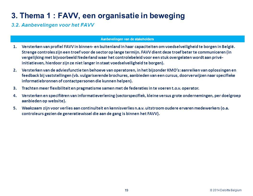 © 2012 Deloitte Belgium © 2014 Deloitte Belgium 3. Thema 1 : FAVV, een organisatie in beweging 19 3.2. Aanbevelingen voor het FAVV 1.Versterken van pr