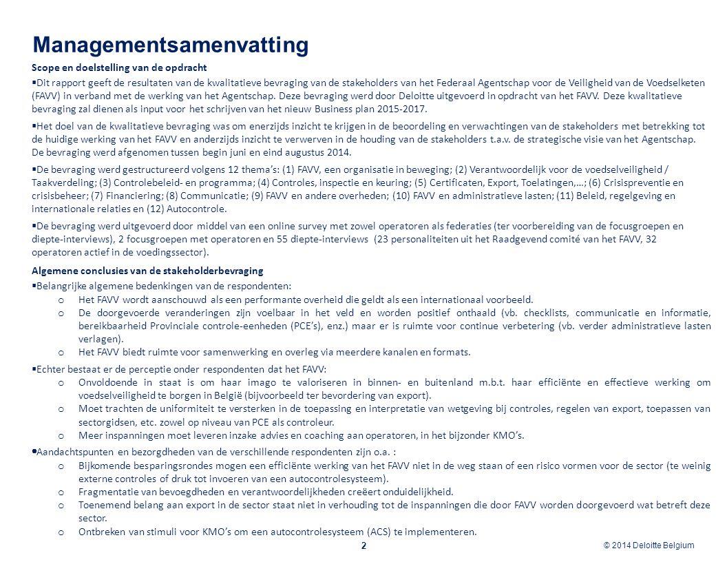 © 2012 Deloitte Belgium © 2014 Deloitte Belgium Managementsamenvatting 3 Gevoeligheid thema's  In vergelijking met de voorgaande FAVV Stakeholderbevraging (2011) zijn de volgende thema's in gevoeligheid toegenomen bij respondenten, met andere woorden het belang van deze onderwerpen neemt toe in de sector, wat een betekenisvolle input kan geven in de opmaak van het nieuw Business Plan 2015 - 2017: o Certificaten, Export en Toelatingen; o Controle/inspectie/keuring; o Financiering.
