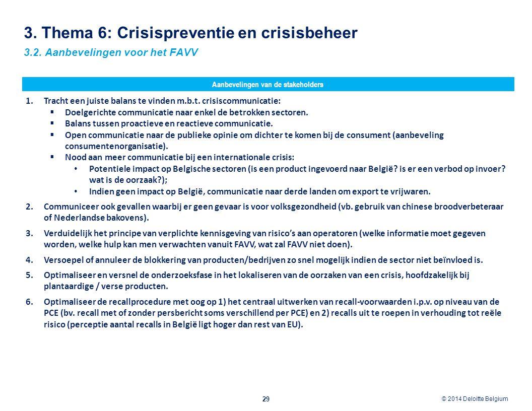 © 2012 Deloitte Belgium © 2014 Deloitte Belgium 29 3.2. Aanbevelingen voor het FAVV Aanbevelingen van de stakeholders 3. Thema 6: Crisispreventie en c