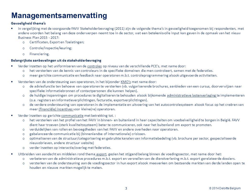 © 2012 Deloitte Belgium © 2014 Deloitte Belgium Agenda 4 3 2 Inleiding 1 Methodiek Resultaten van de bevraging 2.1 Organisatie van de bevraging 2.2 Bevraagde thema's en sectoren 2.3 Kwaliteitsbewaking bij survey, interviews en focusgroepen 1.1 Doelstelling van de opdracht 3.1 Bevindingen per thema 3.2 Aanbevelingen voor het FAVV per thema 3.3 Overzicht van de sterktes, zwaktes, opportuniteiten en dreigingen van het FAVV 3.4 Baselining gevoeligheid thema's 2014 - 2011 3.5 Aanbevelingen voor toekomstige stakeholderbevragingen 4 Appendix 4.1 Overzicht resultaten online survey 4.2 Overzicht resultaten bevraging personaliteiten uit het Raadgevend Comité