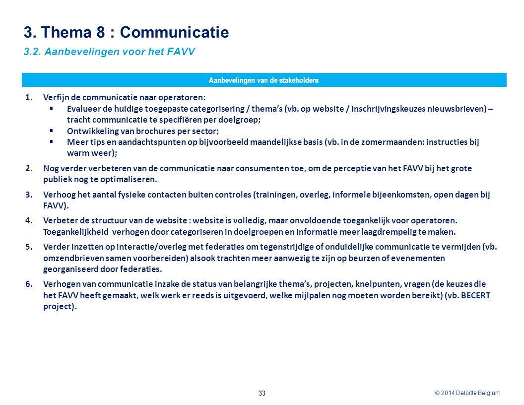 © 2012 Deloitte Belgium © 2014 Deloitte Belgium 3. Thema 8 : Communicatie 33 3.2. Aanbevelingen voor het FAVV Aanbevelingen van de stakeholders 1.Verf