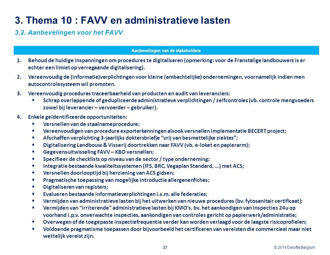 © 2012 Deloitte Belgium © 2014 Deloitte Belgium 3. Thema 10 : FAVV en administratieve lasten 37 3.2. Aanbevelingen voor het FAVV Aanbevelingen van de