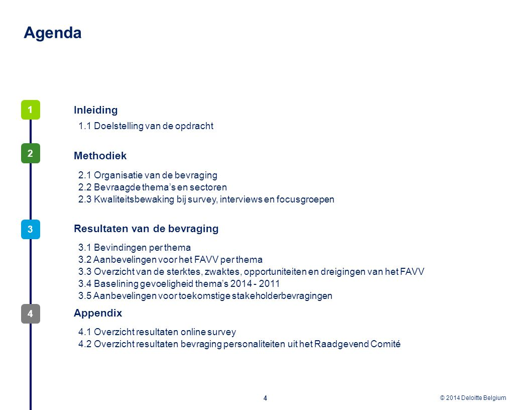 © 2012 Deloitte Belgium © 2014 Deloitte Belgium Agenda 4 3 2 Inleiding 1 Methodiek Resultaten van de bevraging 2.1 Organisatie van de bevraging 2.2 Be