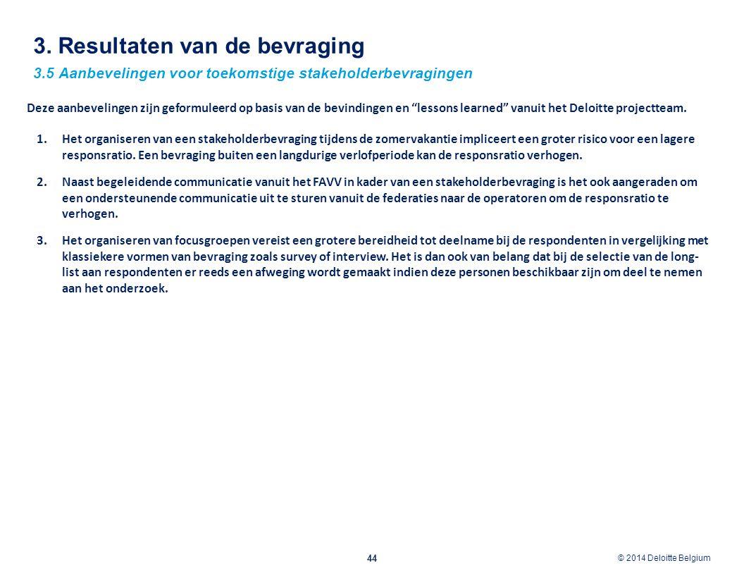 © 2012 Deloitte Belgium © 2014 Deloitte Belgium 3. Resultaten van de bevraging 44 3.5 Aanbevelingen voor toekomstige stakeholderbevragingen 1.Het orga