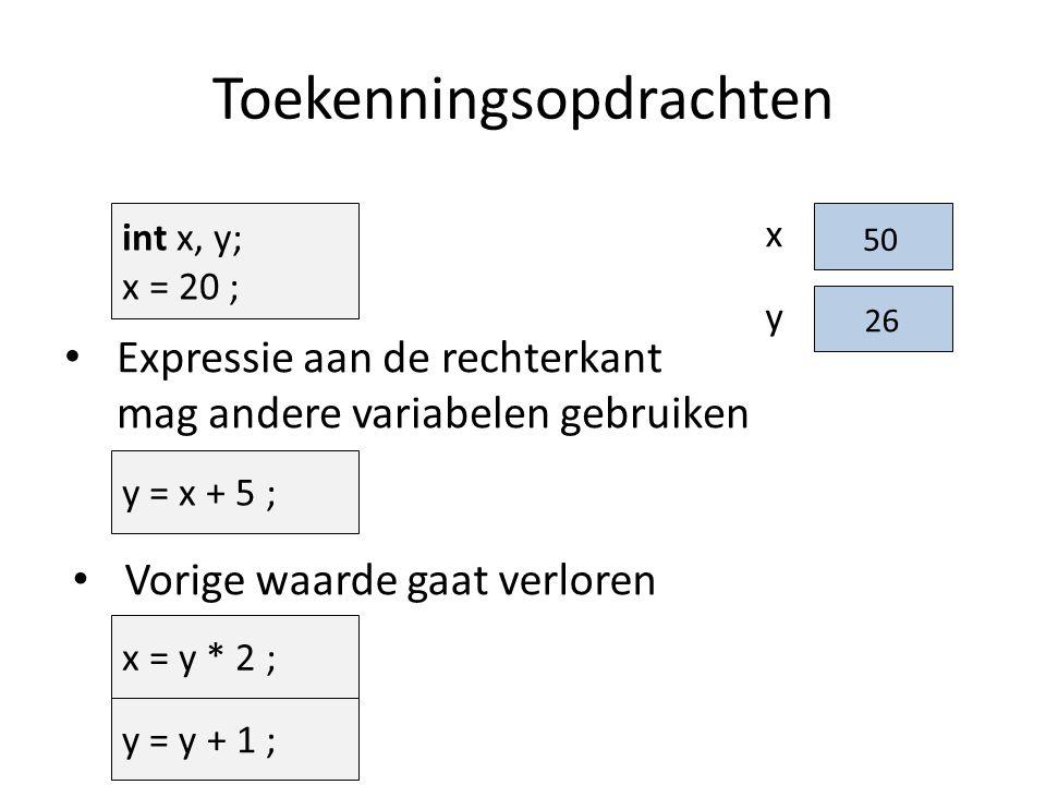 Toekenningsopdrachten y = x + 5 ; Expressie aan de rechterkant mag andere variabelen gebruiken Vorige waarde gaat verloren x = y * 2 ; x y 20 int x, y; x = 20 ; y = y + 1 ; 25 50 26