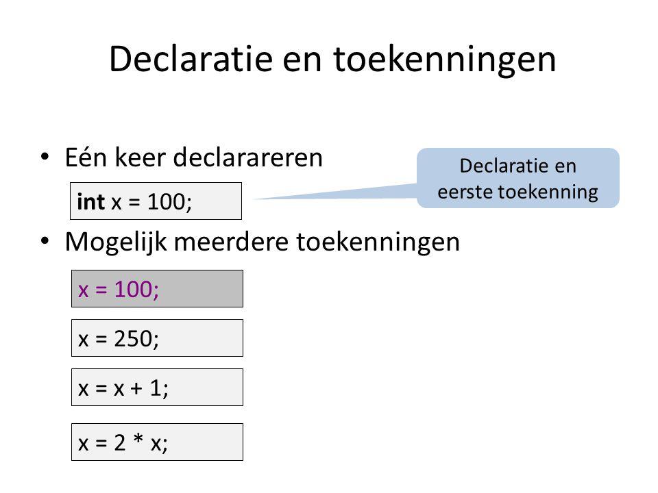 Declaratie en toekenningen Eén keer declarareren Mogelijk meerdere toekenningen int x; x = 100; x = 250; x = x + 1; x = 2 * x; int x = 100; x = 100; Declaratie en eerste toekenning
