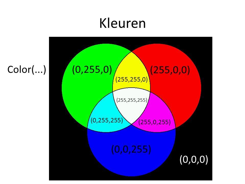 Kleuren (255,0,0) (0,255,0) (255,255,0) (0,0,255) (0,255,255) (255,0,255) (255,255,255) (0,0,0) Color(...)