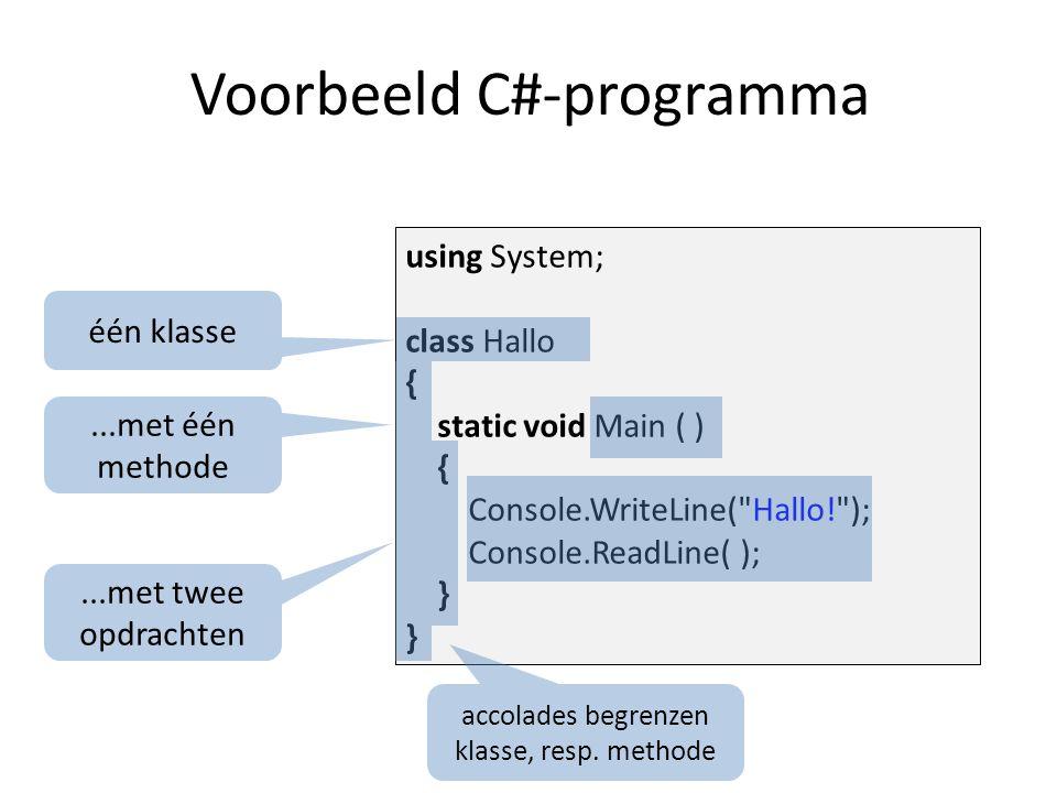 using System; class Hallo { static void Main ( ) { Console.WriteLine( Hallo! ); Console.ReadLine( ); } Klasse- en methode-header naam: bedacht door de programmeur één van de methodes moet Main heten
