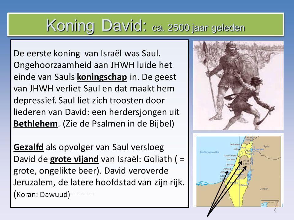 8 Boek blz.10 t/m 39, ca. 6 weken De eerste koning van Israël was Saul.