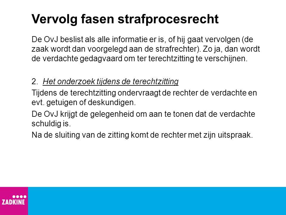 Vervolg fasen strafprocesrecht 3.