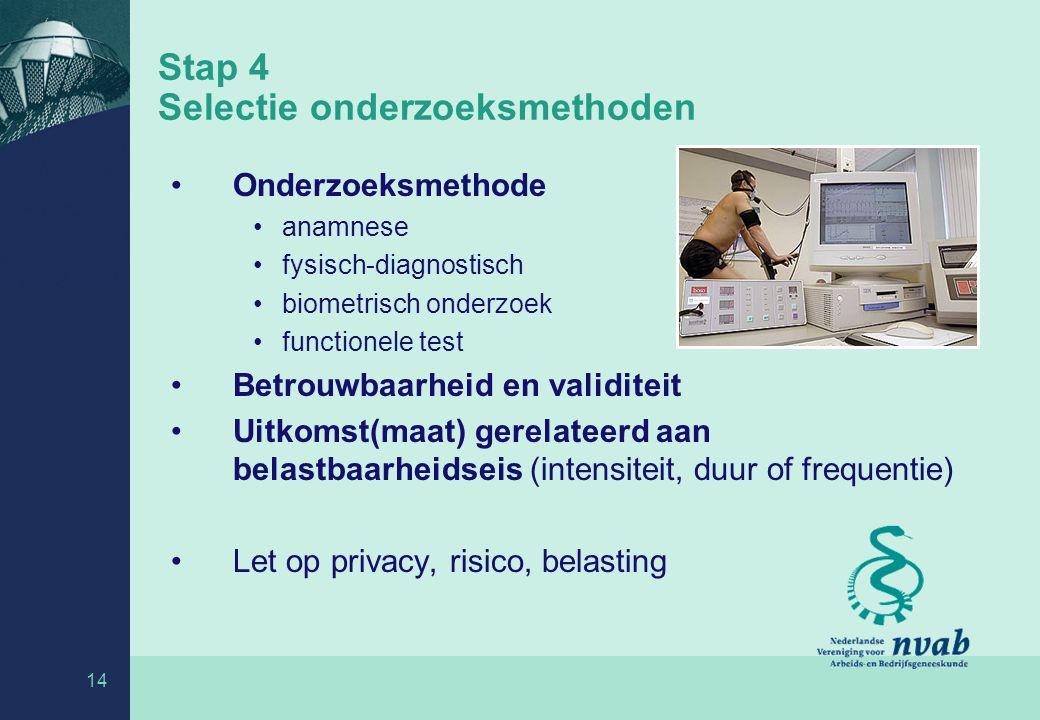 14 Stap 4 Selectie onderzoeksmethoden Onderzoeksmethode anamnese fysisch-diagnostisch biometrisch onderzoek functionele test Betrouwbaarheid en validi