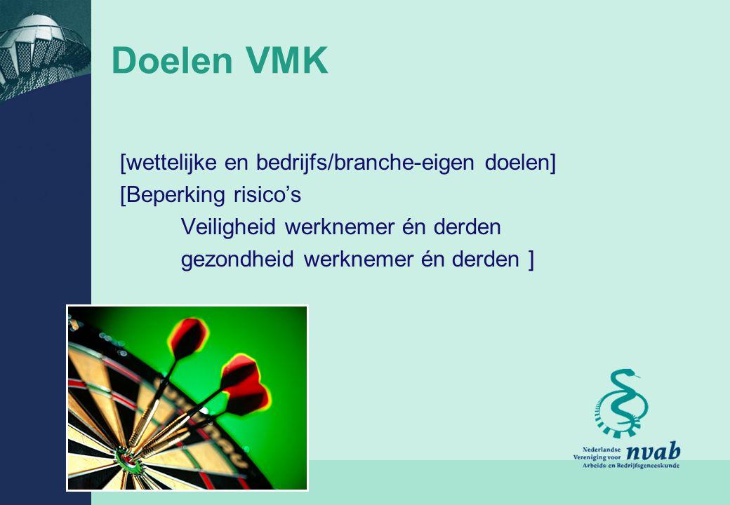 9 Doelen VMK [wettelijke en bedrijfs/branche-eigen doelen] [Beperking risico's Veiligheid werknemer én derden gezondheid werknemer én derden ]