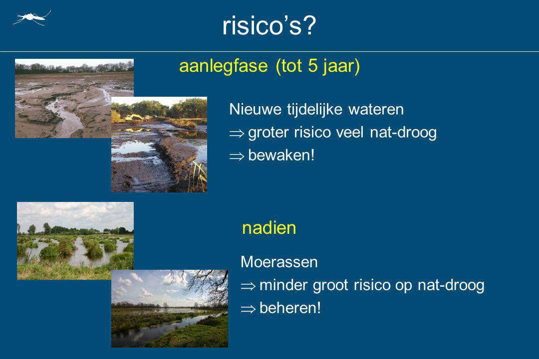 risico's? Nieuwe tijdelijke wateren  groter risico veel nat-droog  bewaken! aanlegfase (tot 5 jaar) Moerassen  minder groot risico op nat-droog  b