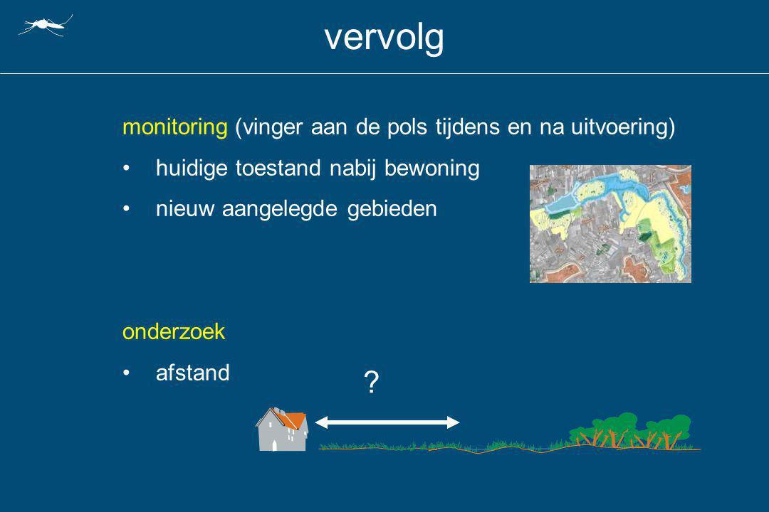 vervolg monitoring (vinger aan de pols tijdens en na uitvoering) huidige toestand nabij bewoning nieuw aangelegde gebieden onderzoek afstand ?