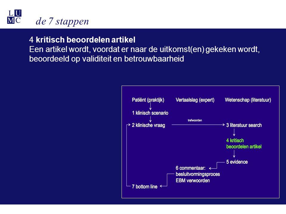 de 7 stappen 4 kritisch beoordelen artikel Een artikel wordt, voordat er naar de uitkomst(en) gekeken wordt, beoordeeld op validiteit en betrouwbaarhe