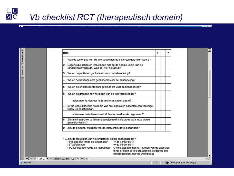 Vb checklist RCT (therapeutisch domein)