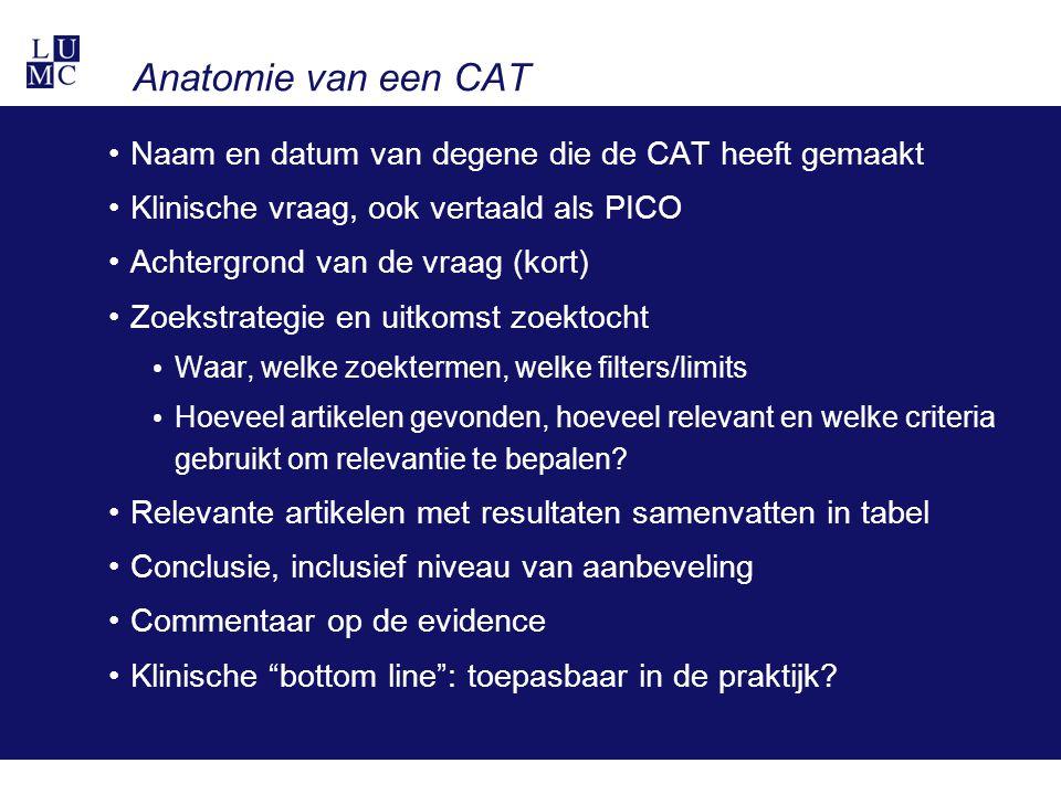 Anatomie van een CAT Naam en datum van degene die de CAT heeft gemaakt Klinische vraag, ook vertaald als PICO Achtergrond van de vraag (kort) Zoekstra
