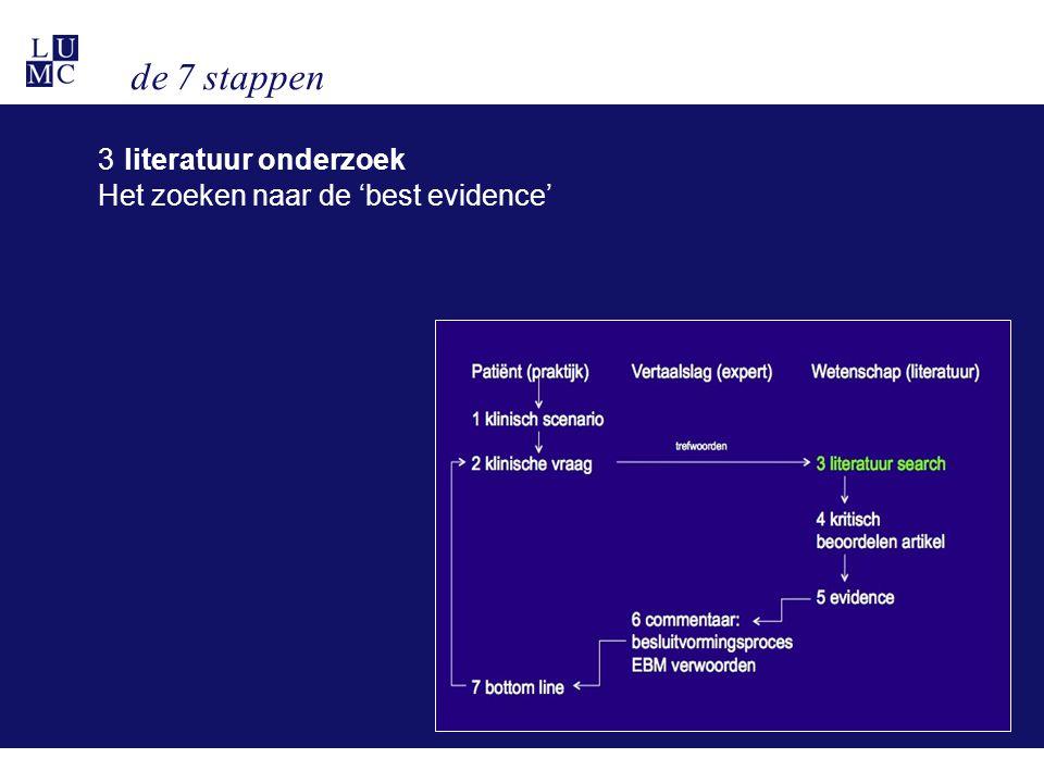 de 7 stappen 3 literatuur onderzoek Het zoeken naar de 'best evidence'