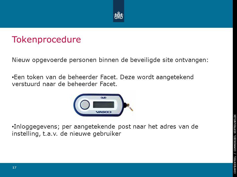 CONFIDENTEEL / COMMERCIEEL VERTROUWELIJK 17 Nieuw opgevoerde personen binnen de beveiligde site ontvangen: Een token van de beheerder Facet. Deze word