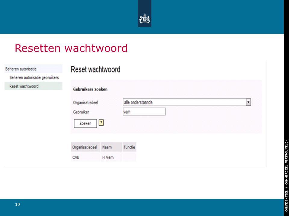 CONFIDENTEEL / COMMERCIEEL VERTROUWELIJK 19 Resetten wachtwoord