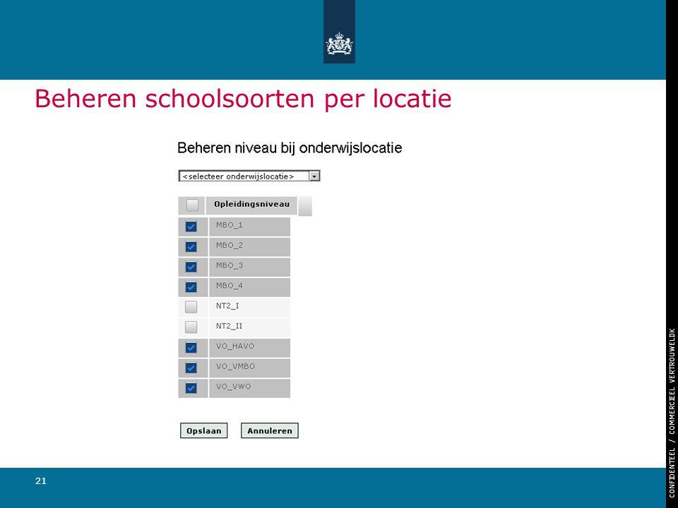 CONFIDENTEEL / COMMERCIEEL VERTROUWELIJK 21 Beheren schoolsoorten per locatie