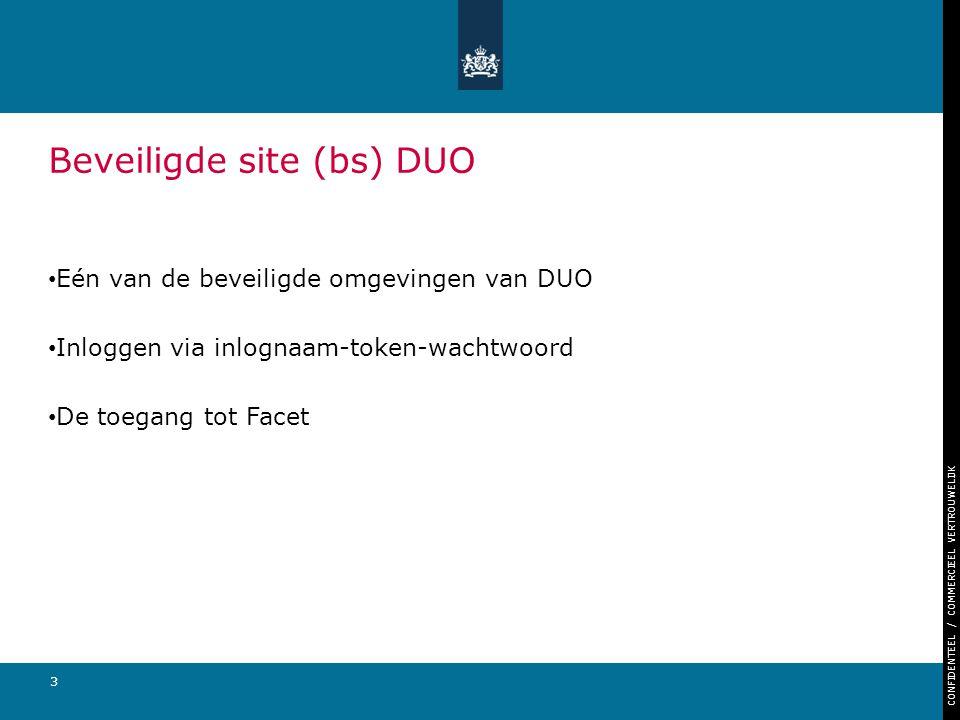 CONFIDENTEEL / COMMERCIEEL VERTROUWELIJK 3 Beveiligde site (bs) DUO Eén van de beveiligde omgevingen van DUO Inloggen via inlognaam-token-wachtwoord D