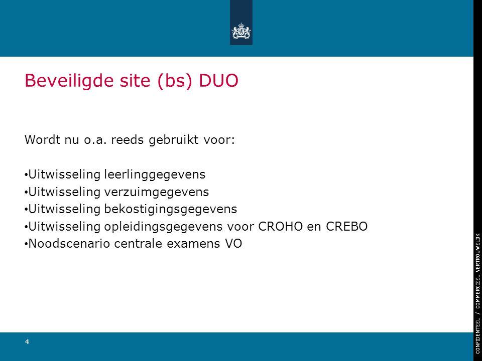 CONFIDENTEEL / COMMERCIEEL VERTROUWELIJK 4 Beveiligde site (bs) DUO Wordt nu o.a. reeds gebruikt voor: Uitwisseling leerlinggegevens Uitwisseling verz