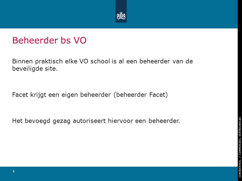 CONFIDENTEEL / COMMERCIEEL VERTROUWELIJK 5 Beheerder bs VO Binnen praktisch elke VO school is al een beheerder van de beveiligde site. Facet krijgt ee