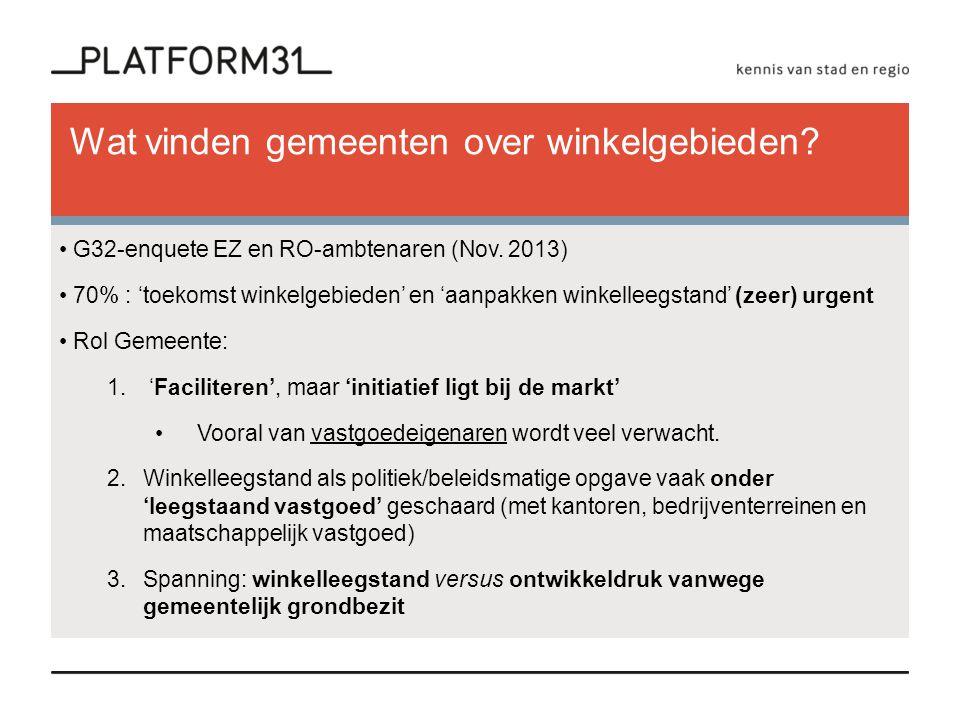 Wat vinden gemeenten over winkelgebieden. G32-enquete EZ en RO-ambtenaren (Nov.