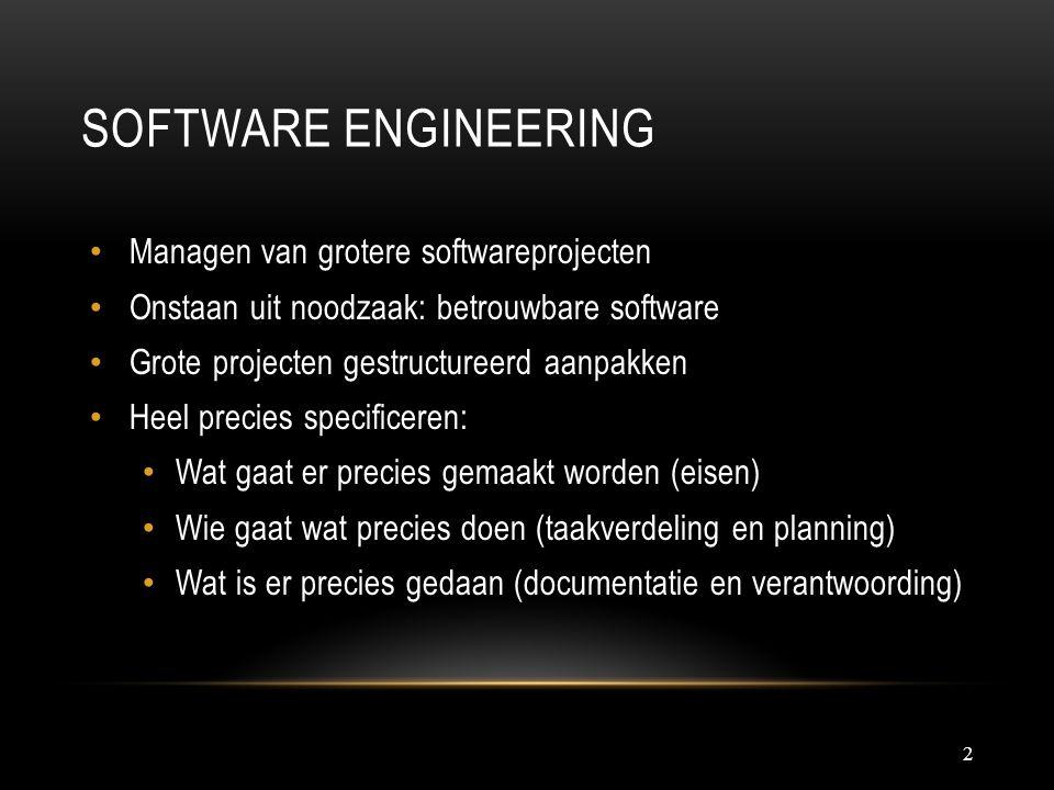 SOFTWARE ENGINEERING 2 Managen van grotere softwareprojecten Onstaan uit noodzaak: betrouwbare software Grote projecten gestructureerd aanpakken Heel