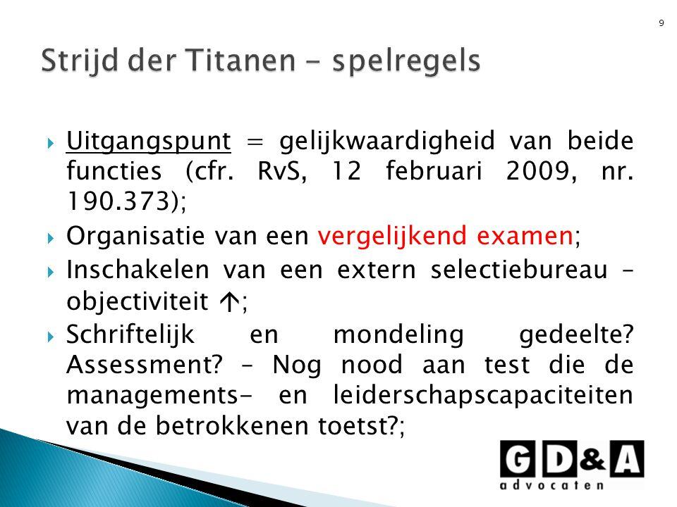  Uitgangspunt = gelijkwaardigheid van beide functies (cfr. RvS, 12 februari 2009, nr. 190.373);  Organisatie van een vergelijkend examen;  Inschake