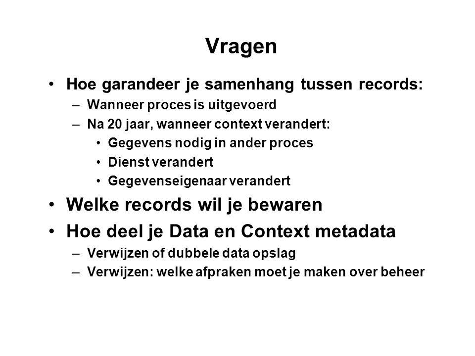 Vragen Hoe garandeer je samenhang tussen records: –Wanneer proces is uitgevoerd –Na 20 jaar, wanneer context verandert: Gegevens nodig in ander proces