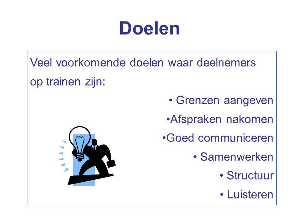 Veel voorkomende doelen waar deelnemers op trainen zijn: Grenzen aangeven Afspraken nakomen Goed communiceren Samenwerken Structuur Luisteren Doelen