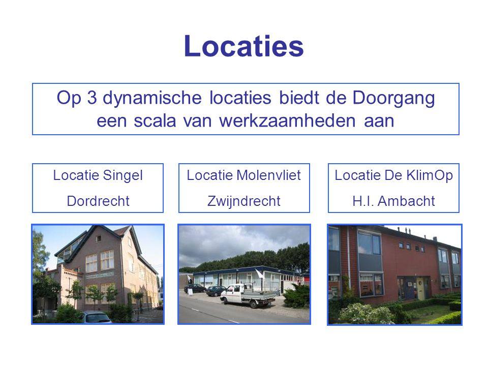 Locaties Locatie Singel Dordrecht Locatie Molenvliet Zwijndrecht Locatie De KlimOp H.I. Ambacht Op 3 dynamische locaties biedt de Doorgang een scala v