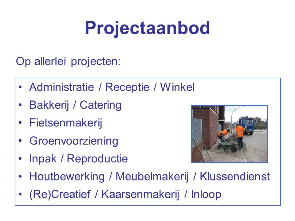 Projectaanbod Administratie / Receptie / Winkel Bakkerij / Catering Fietsenmakerij Groenvoorziening Inpak / Reproductie Houtbewerking / Meubelmakerij