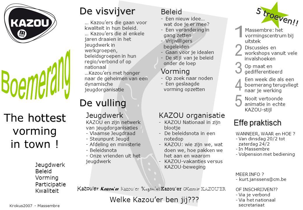 Jeugdwerk Beleid Vorming Participatie Kwaliteit hottest The hottest vorming in town .
