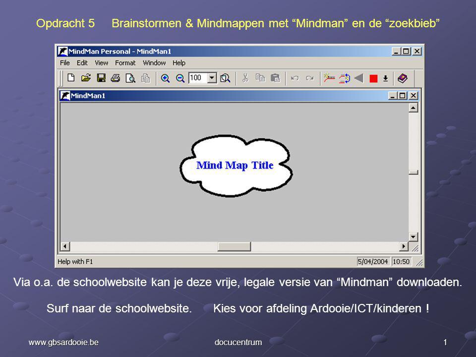 1www.gbsardooie.bedocucentrum Opdracht 5 Brainstormen & Mindmappen met Mindman en de zoekbieb Via o.a.