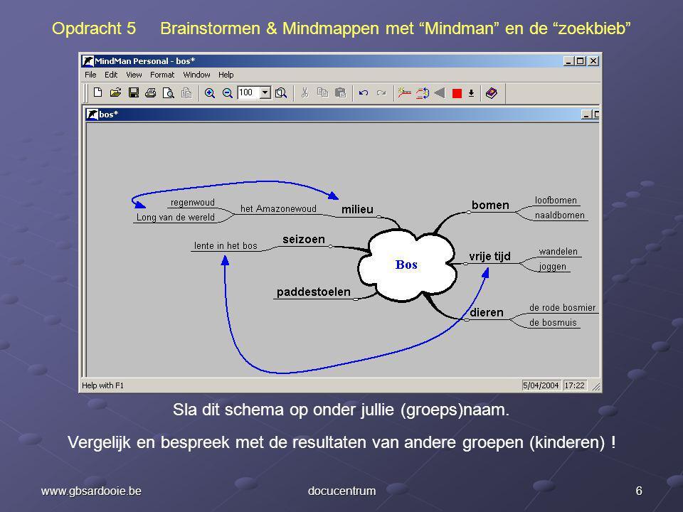 6www.gbsardooie.bedocucentrum Opdracht 5 Brainstormen & Mindmappen met Mindman en de zoekbieb Sla dit schema op onder jullie (groeps)naam.